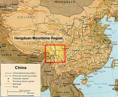 Map of China highlighting the Hengduan Mountains
